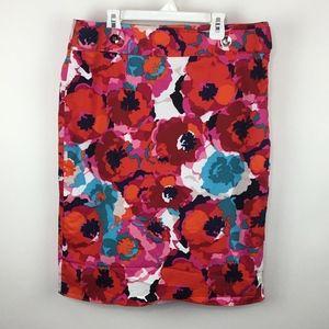 Rafaella Floral High Waist Pencil Skirt sz 12